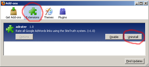 Plug-in removal, Add-ons dialog